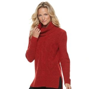 {Sonoma} Cable-knit Cowl Sweater in Red